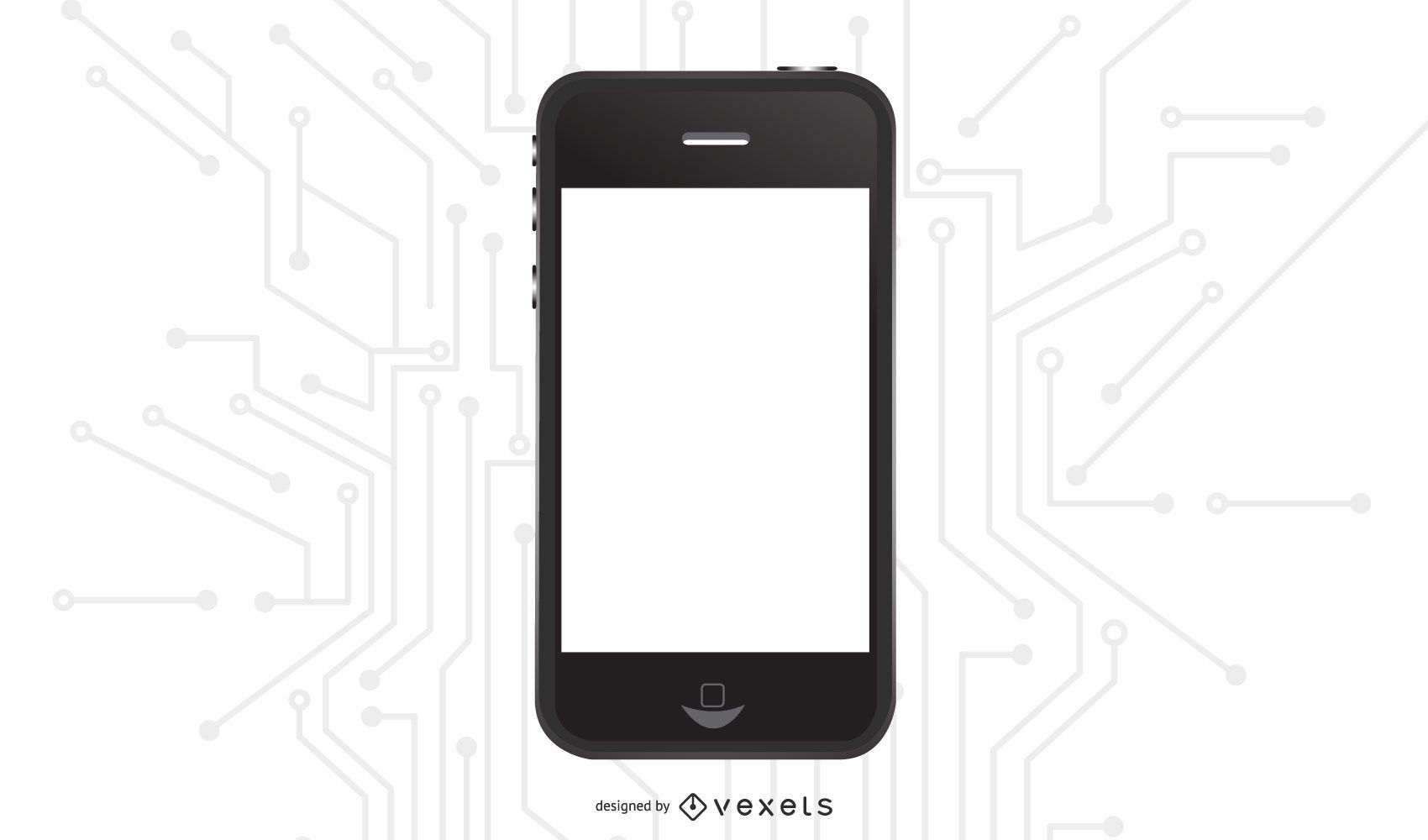 Glossy Black iPhone with Blank Display