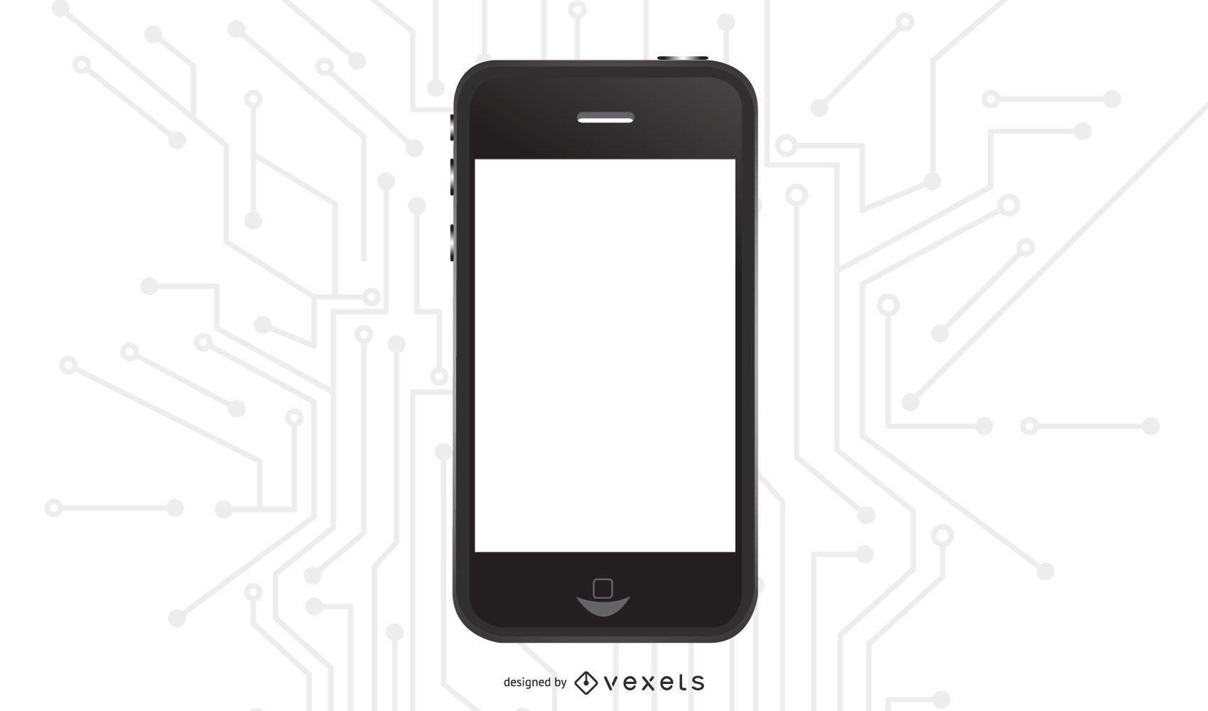 IPhone negro brillante con pantalla en blanco