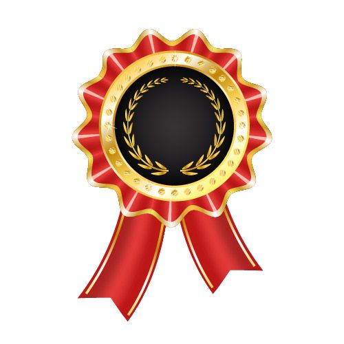 Emblema de prêmio brilhante com fita