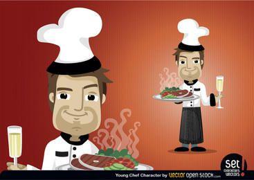 Conjunto de caracteres del joven chef