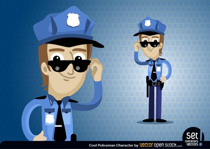 Personaje de dibujos animados de policía
