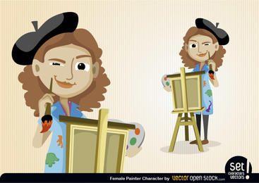 Personagem de pintor feminino