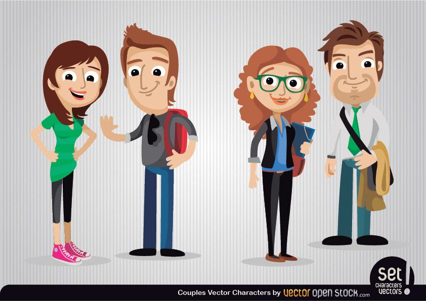 Personajes de dibujos animados de parejas
