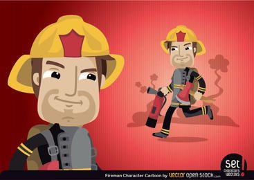 Personagem de desenho animado de bombeiro