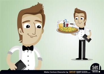 Personaje de dibujos animados de camarero