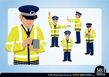 Conjunto de policías de tráfico