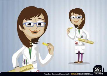 Personagem de desenho animado de professor