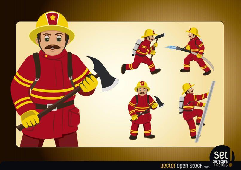 Poses de bombeiro de ação