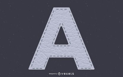 Alfabeto de textura de couro costurado