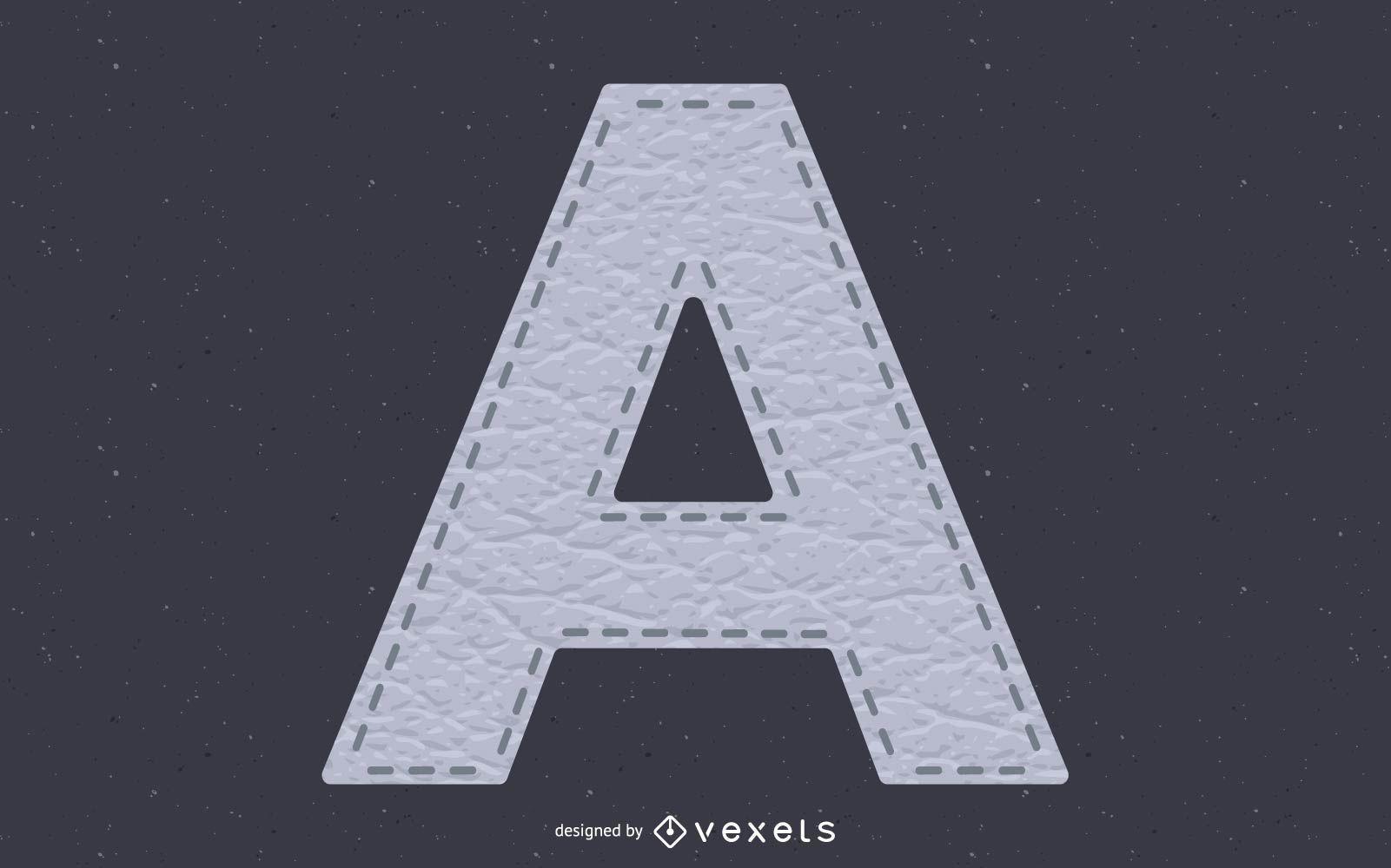 Alfabeto cosido textura de cuero