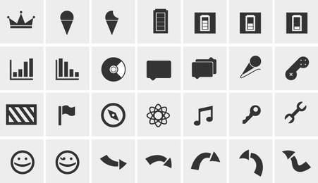 Pacote de ícones da Web em preto e branco simples