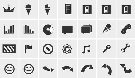 Pacote simples de ícones da Web em preto e branco