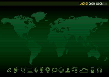 Technology worldmap Background and Icons