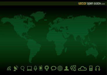 Tecnologia worldmap fundo e ícones