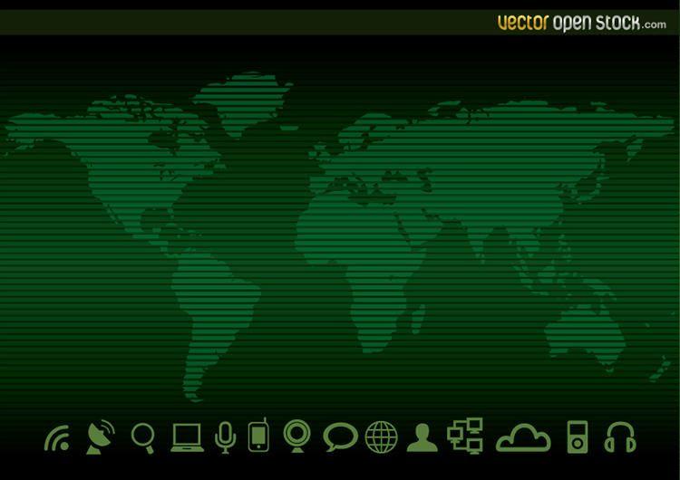 Mapa del mundo de la tecnología y los iconos