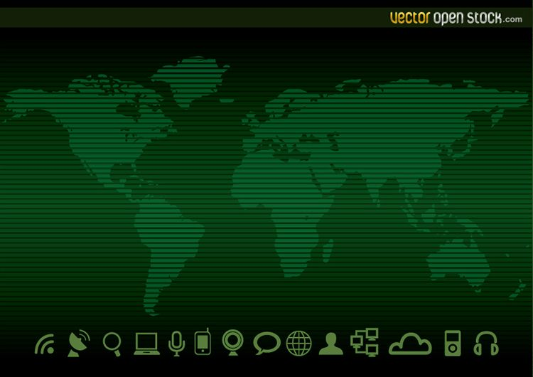 Fondo e iconos de mapa mundial de tecnología