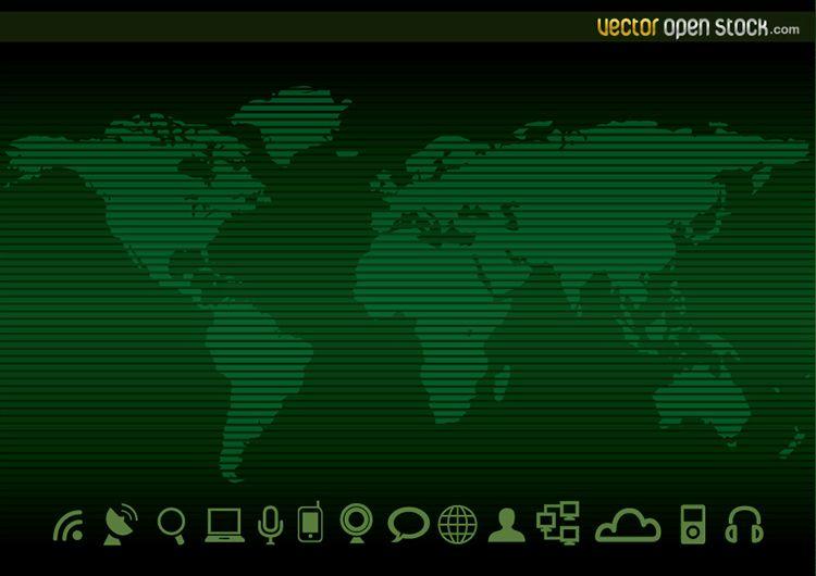 Technologie-Weltkarte Hintergrund und Symbole