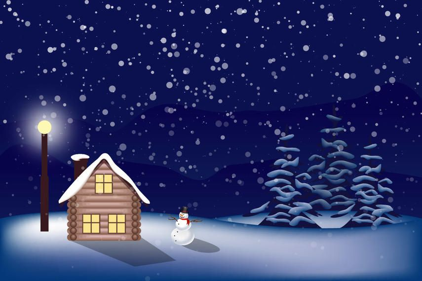 Snowy Christmas Landscape - Vector download