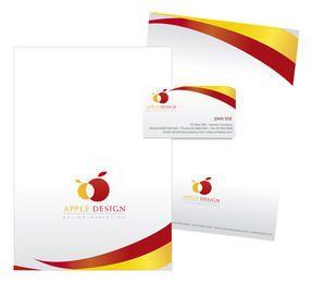 Diseño de papelería en amarillo y rojo