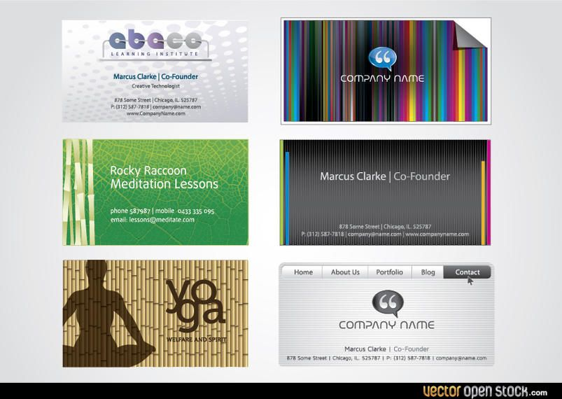 Sechs Moderne Visitenkartenvorlagen Vektor Download