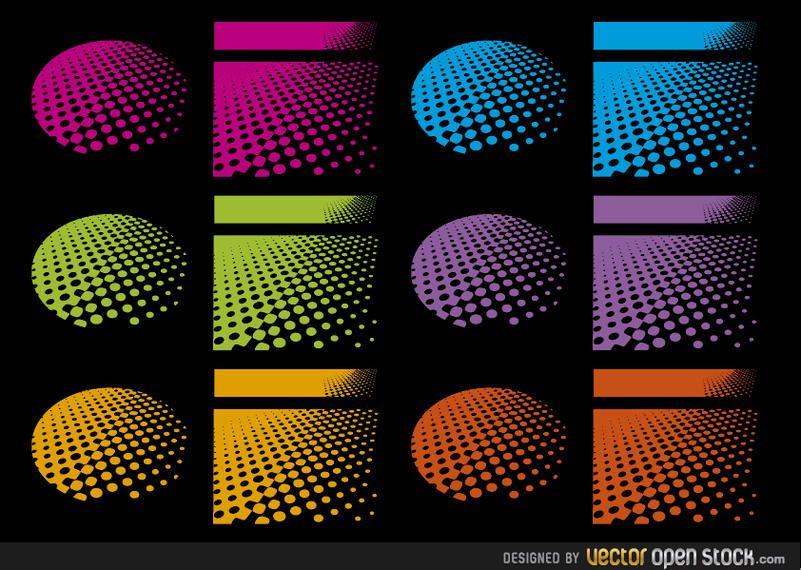 Desenhos de meio-tom em várias cores