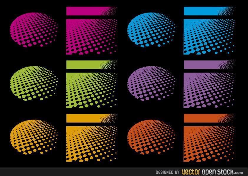 Halftone designs in several colours