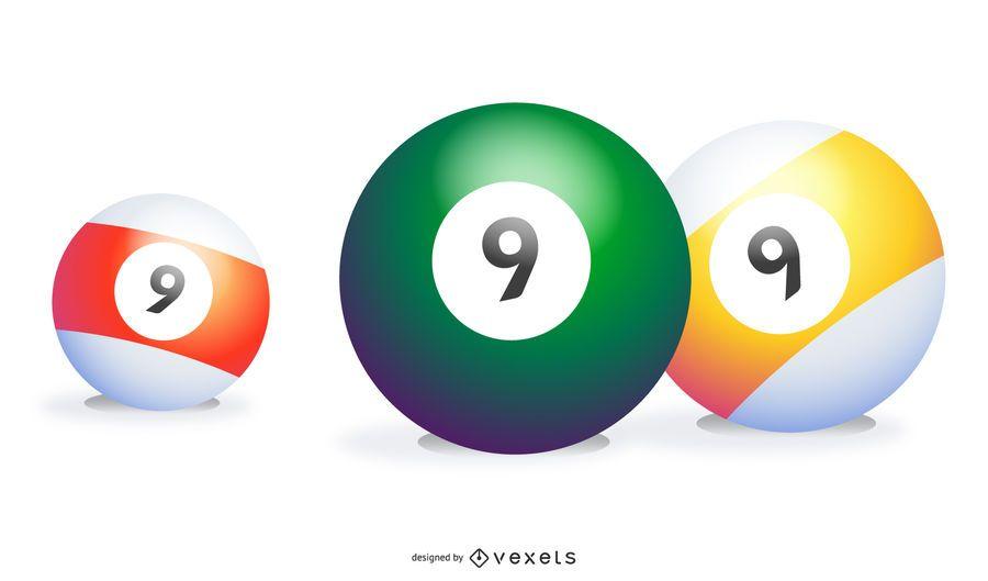 Três 9 bolas em cores diferentes