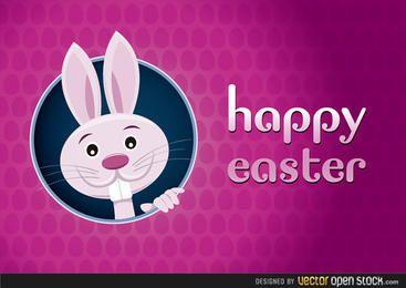 Tarjeta de felicitación feliz de Pascua con el conejo
