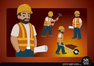 Carácter Trabajador de Contruction