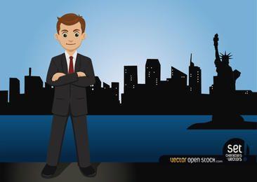 Geschäftsmann Standing auf der New York Skyline