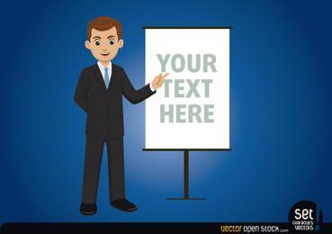 Hombre de negocios con tablero de mensajes