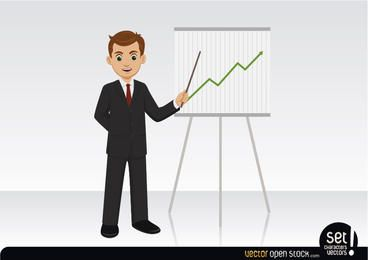 Empresario mostrando un gráfico en crecimiento.