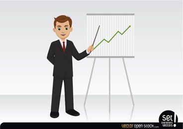Homem negócios, mostrando, um, crescendo, gráfico