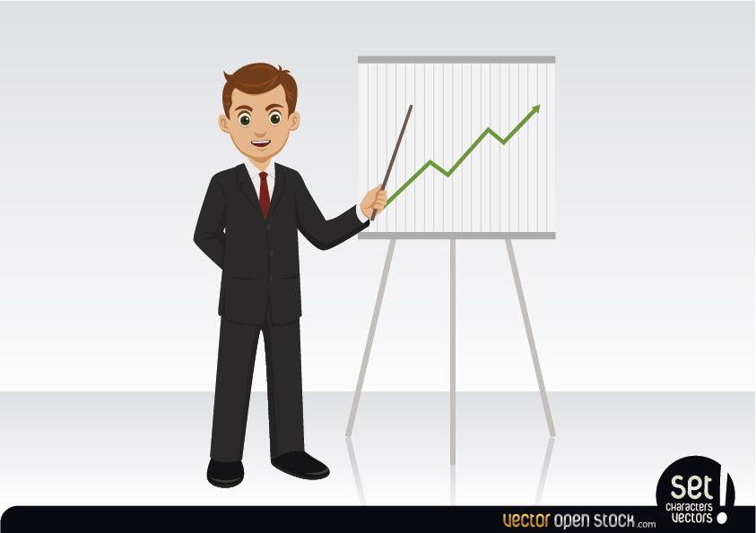 Empresario mostrando un gráfico creciente