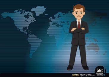 Empresario con un mapa del mundo de fondo