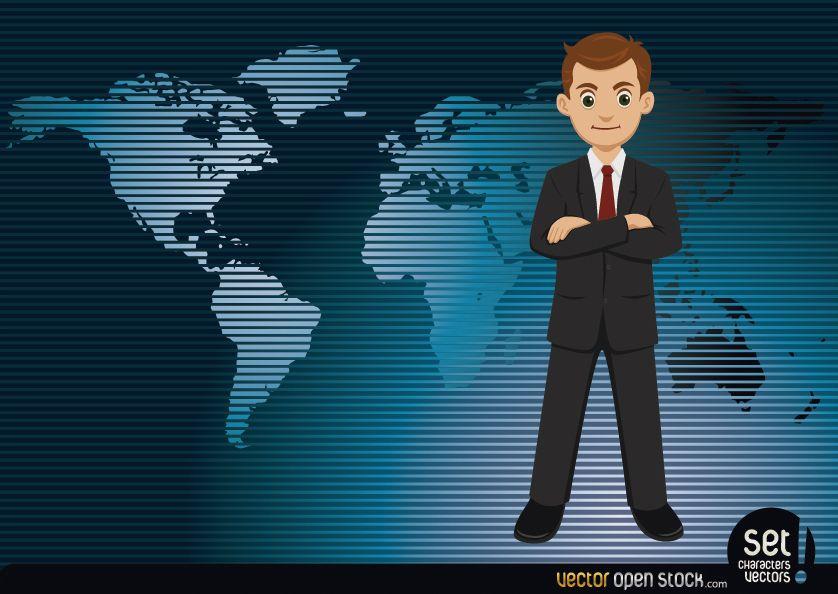 Businessman with a worldmap Background