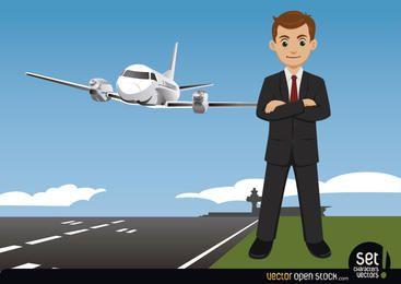 Geschäftsmann auf einem Flughafen