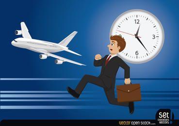 Geschäftsmann, der seinen Flug verliert