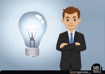 Homem negócios, tendo, um, idéia, (lightbulb)