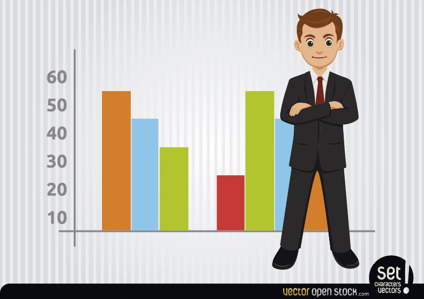 Businessman with colourful charts