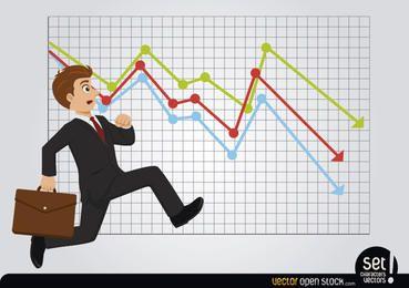 Später laufender Geschäftsmann mit Verlustdiagramm