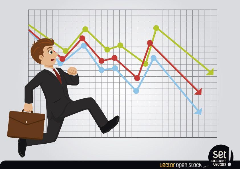 Hombre de negocios corriente tardío con gráfico de pérdidas