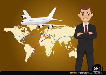Homem negócios, com, mapa global, e, avião