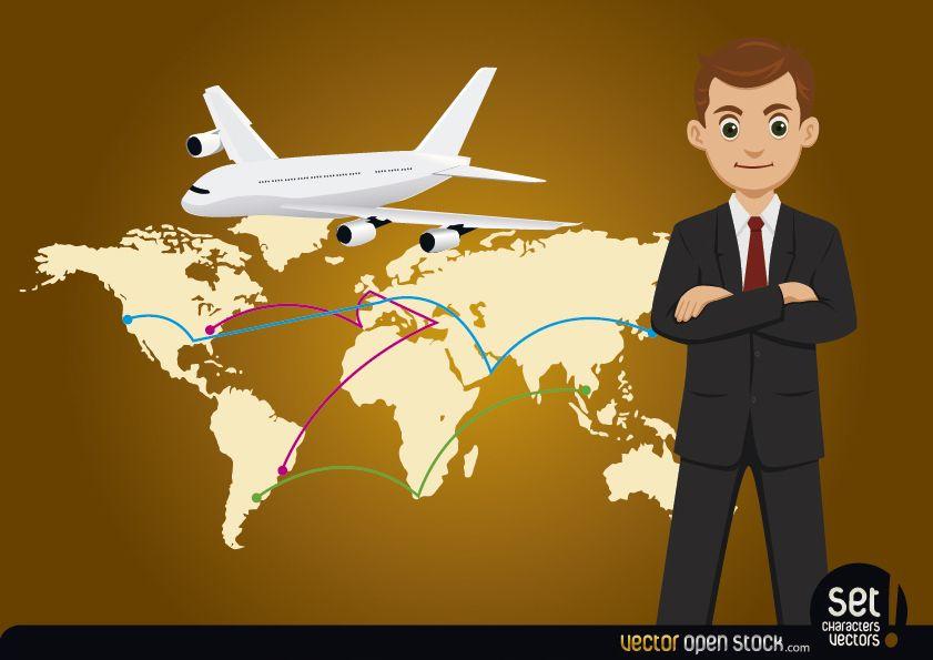 Hombre de negocios con mapa global y avión