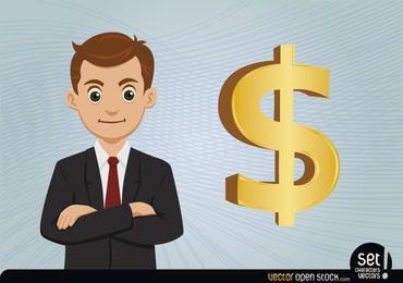 Jovem, homem negócios, com, sinal dólar