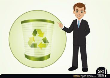 Homem negócios, apresentando, recicle, processo
