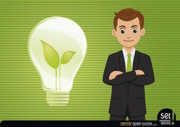 Empresário com lâmpada nova ideia