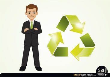 Empresario con flecha cíclica al lado