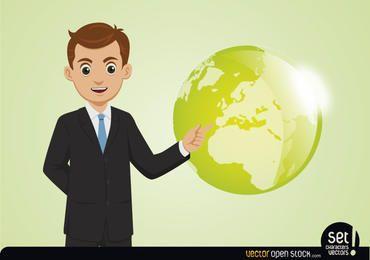 Jovem, homem negócios, mostrando, globo