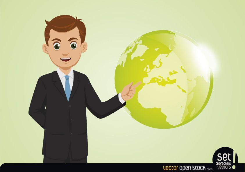 Jovem empresário mostrando o globo